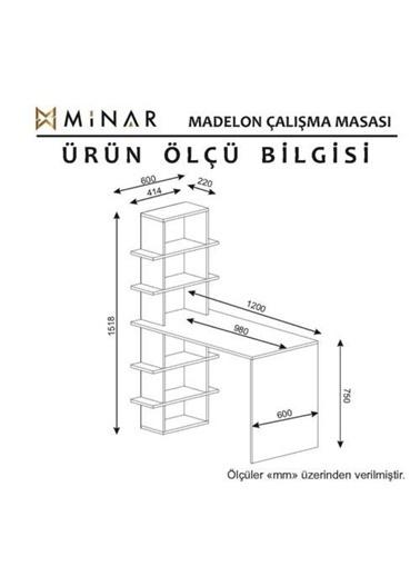 Minar Mobilya Minar Madelon Kitaplıklı Raflı Calısma Masası Beyaz/İstanbul Beyaz